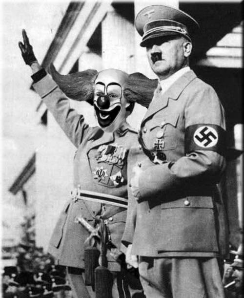 The clown  calling Hitler, OUR FUHRER or sometimes OUR DADDY  saluted the Swastika flag,  the Haile Hitler greeting, and  celebrated Hitler's 51st birthday by singing praises to him on Sabbath and doing balloon tricks and also playing Bozo's favorite party game called hide the hotdogs, April 20, 1940 !